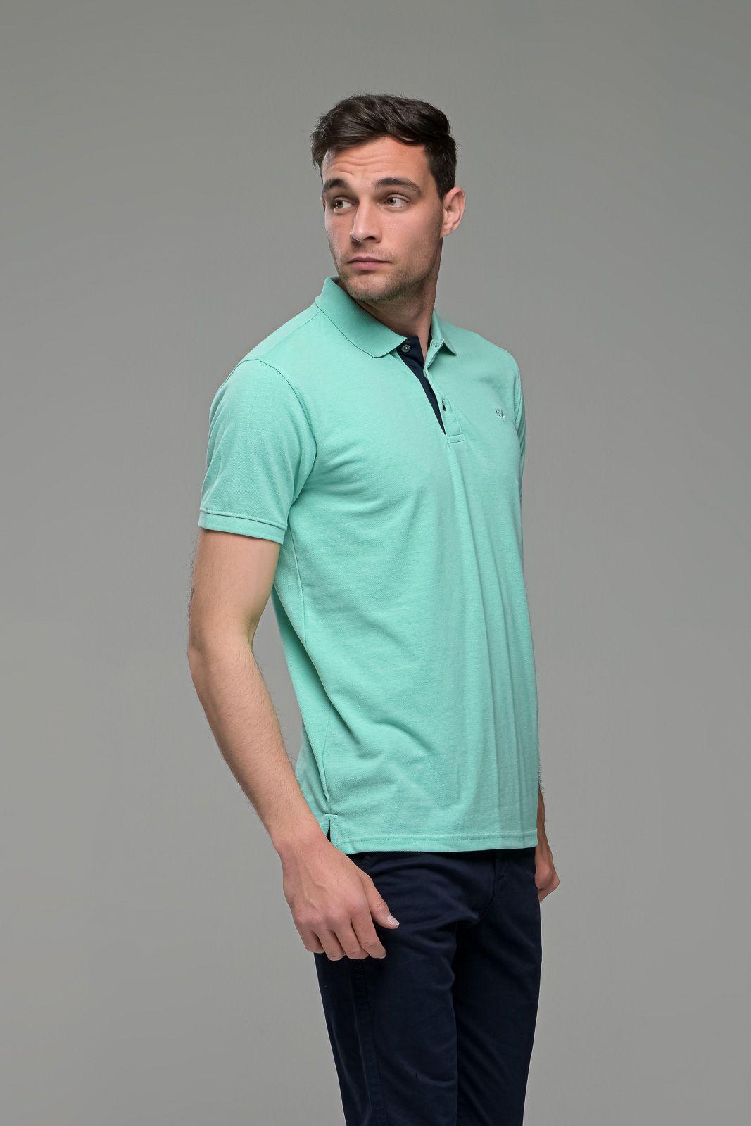 Πράσινο mint Ανδρικό Πόλο Μπλουζάκι FR με Μπλε Πατιλέτα - Regular Fit