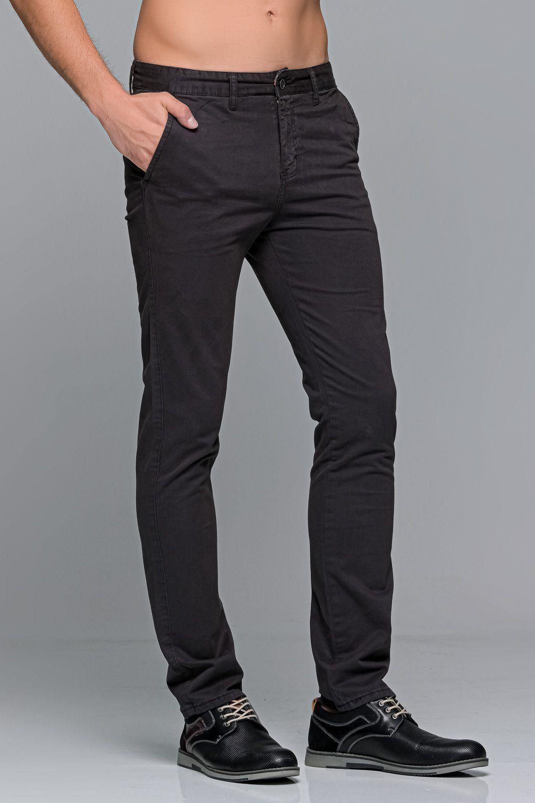 Γκρι ανθρακι ανδρικό παντελόνι chino υφασμάτινο MASSARO - Slim fit