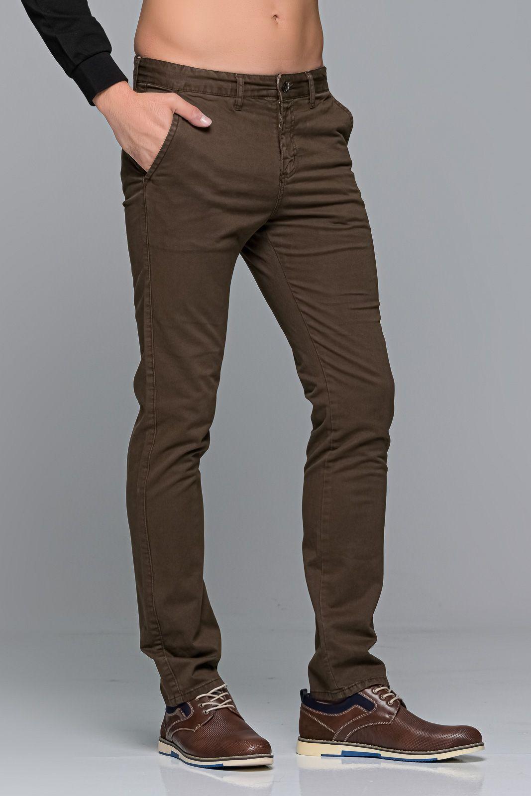 Καφέ ανδρικό παντελόνι chino υφασμάτινο MASSARO - Slim fit