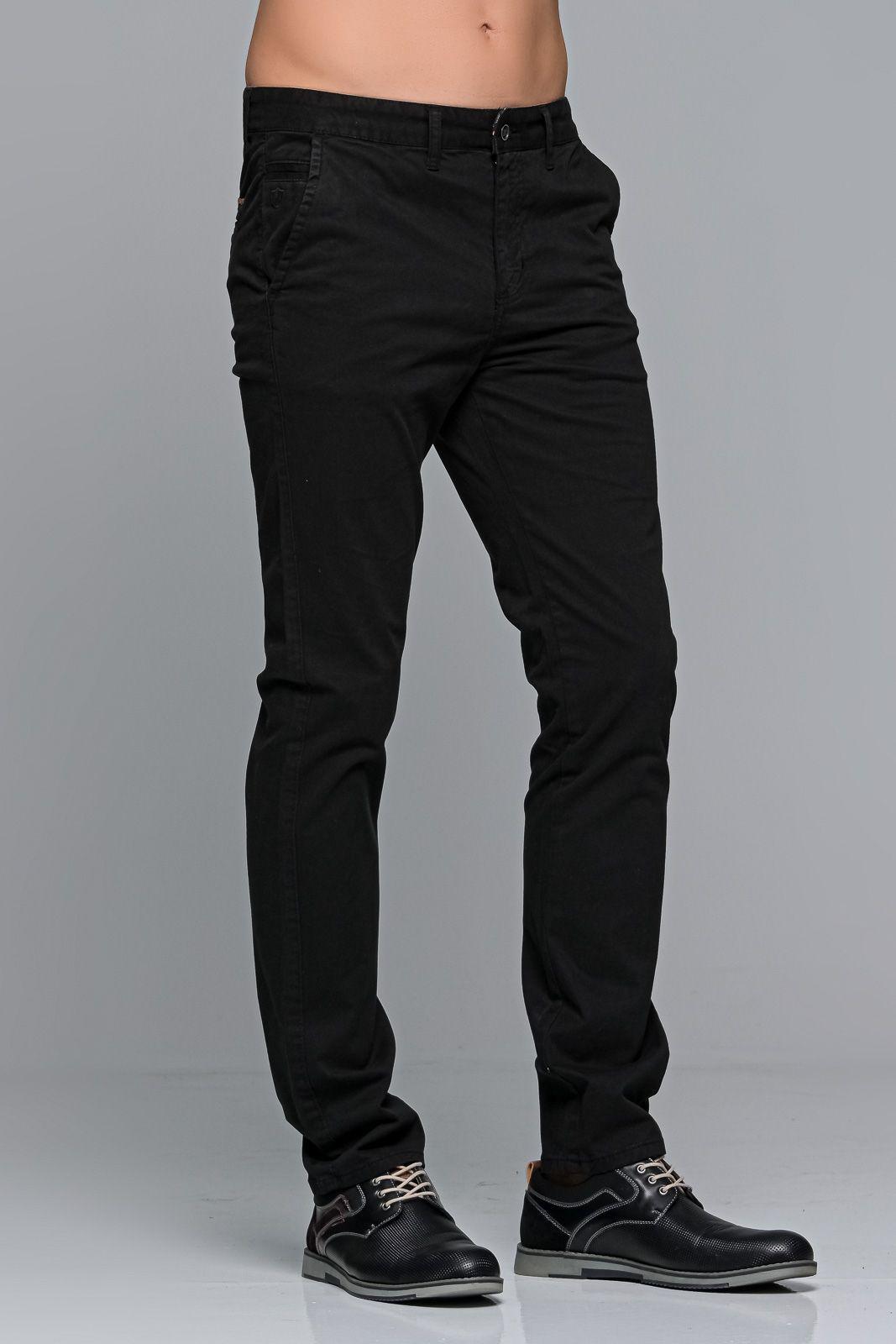 Μαύρο ανδρικό παντελόνι chino υφασμάτινο MASSARO - Slim fit