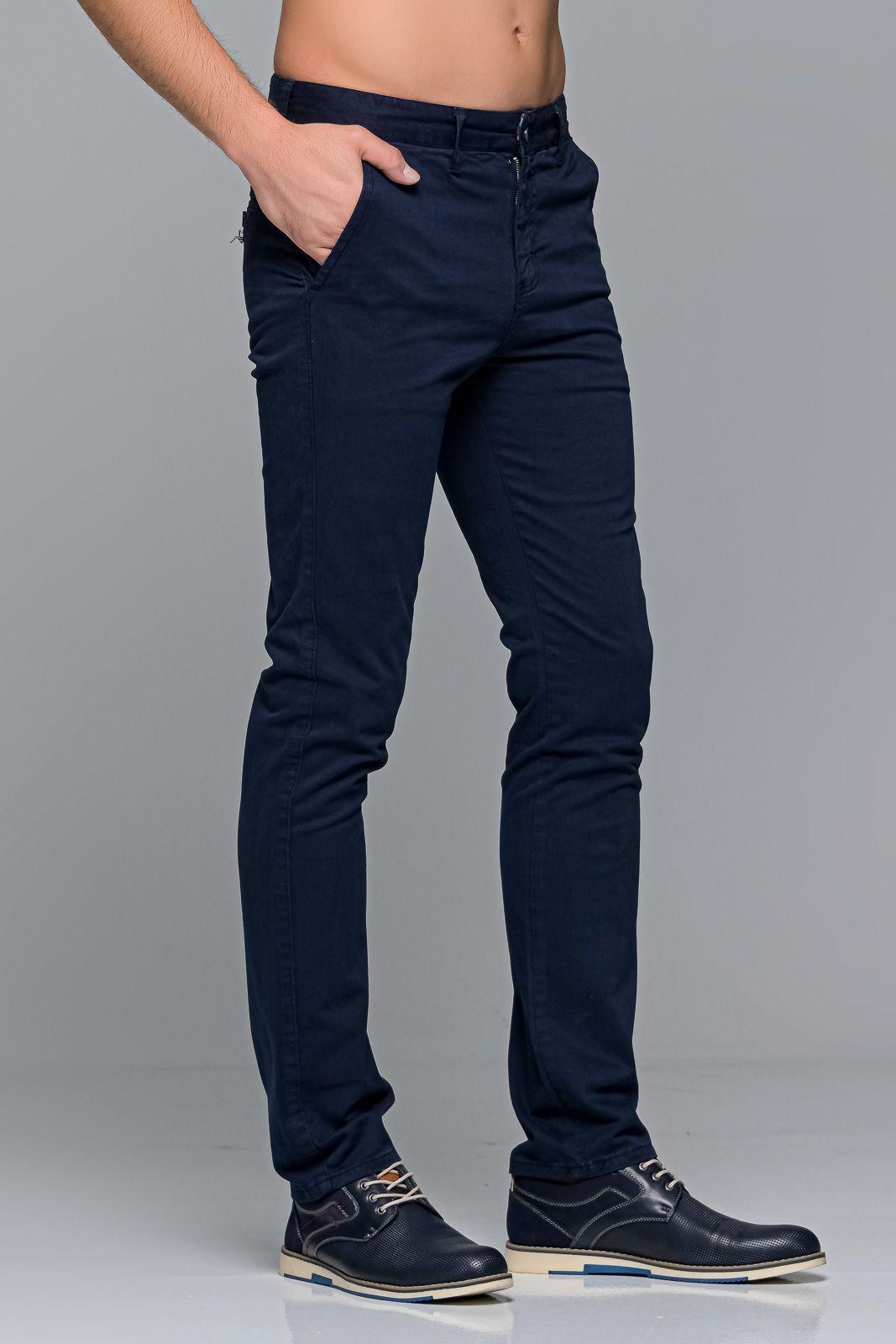 Μπλε ανδρικό παντελόνι chino υφασμάτινο MASSARO - Slim fit