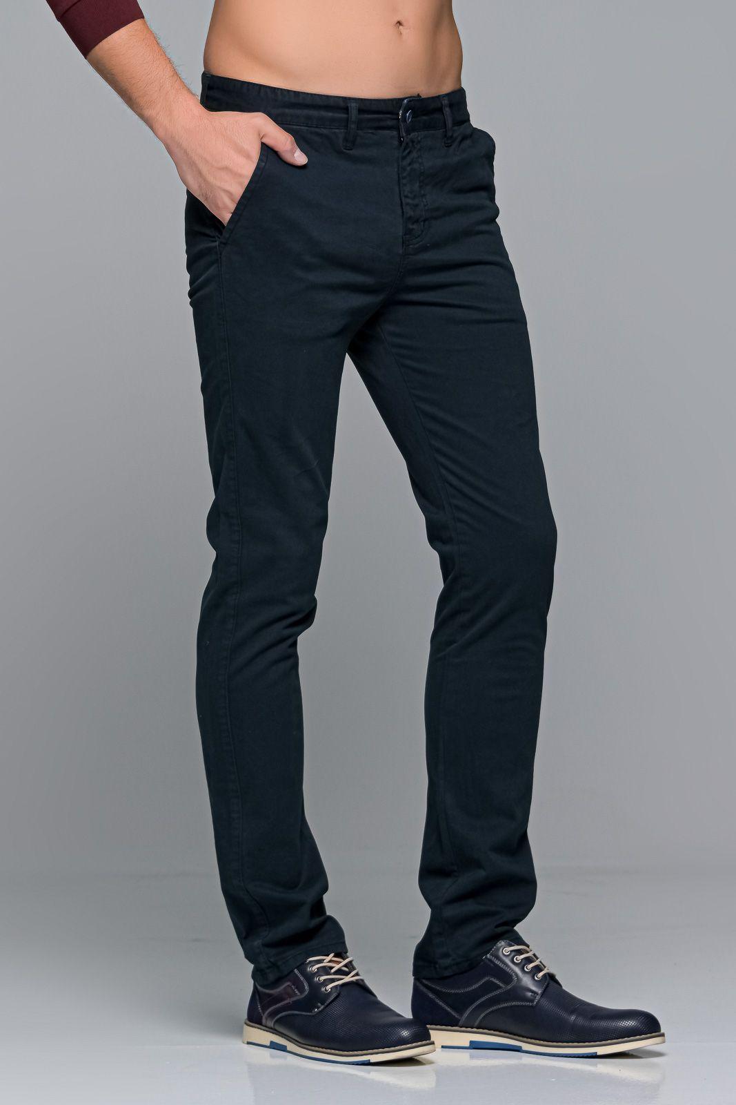 Μπλε navy ανδρικό παντελόνι chino υφασμάτινο MASSARO - Slim fit